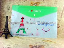 GOOD Price A4 A5 FC PP plastic file envelopes button lock