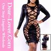 Wholesale Black Showstopper Noir Lace Up Bodycon Dress latest fashion dress designs