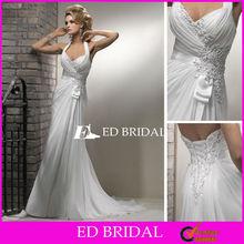 Halter Top Beach Wedding Dresses Beaded Appliqued Chiffon Backless Casual Bride Dress