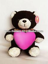 Dark brown bear with pink heart plush bear