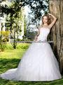 New Strapless querida cetim dentro renda sobre Tulle saia frisado novo modelo 2013 vestido de baile vestido de noiva