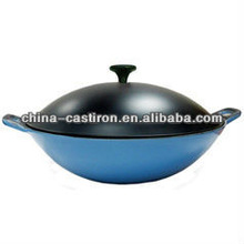 cast iron enameled deep wok