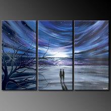 3 piece panel handmade decorative oil painting on canvas of aurora