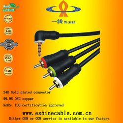 3.5mm to component cable 3.5mm stereo plug right angle cable Digital camera signal cable
