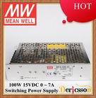 MEAN WELL AC/DC Switching Power Supply 5V 12V 15V 24V Single Output 100W 15V 7A Input 115/230VAC by switch UL CUL CB NES-100-15
