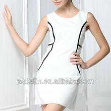 White Color Ladies office wear dress design two pieces dress
