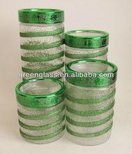Poder colorido vasilha de vidro com tampa
