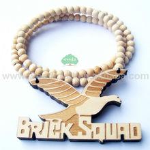 moda wholsale mattone squad aquila uccello ali legno legno perline ciondolo collana hip hop per gli uomini