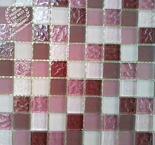 lumpy Glass Mosaic tiles Crystal Mosaic Glass,pink glass mosaic tile