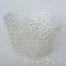 Wedding W004W White Hollow Out crown cupcake wrapper cupcake liners baking wrap Cupcake Wrap
