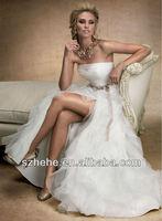 TT75 Vertically fold flower waist side slit wedding dress