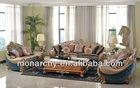 V129D elegant solid wood hand carving sofa set simple living room furniture