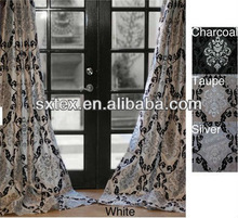 Elegant Flocked Vintage Pattern With Rustic Silver Metallic Print Curtain Silk Taffeta Drapes for baroque cuetains