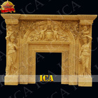 Hand carved marble small fireplace mantel