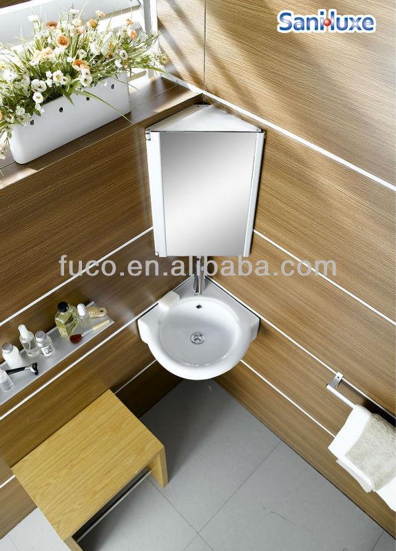 Aluminium armoire de toilette coin cabinet meuble for Lavabo coin salle bain
