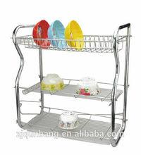 3 tier dish rack B-shape wooden+ metal kitchen utensils,storage rack
