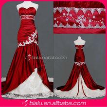 Mermaid Taffeta Appliques Beaded Fashion Red Bridal Real Wedding Dress