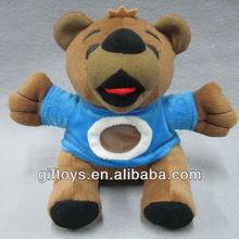 Cute Brown Stuffed Teddy Bear with Blue T-shirt