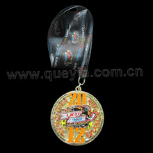 Engraving Athletic Games Medals with Black Ribbon