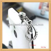 Decorative IP193 Cell Phone Accessories Silver Charm Rhinestone Earplug Jack Anti Dust Plug