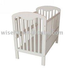 ( W-BB-30 ) pine wood white baby crib