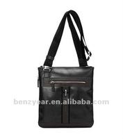 Black leather shoulder bag for office man