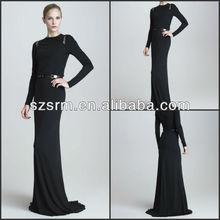 ZED-211 New Design Simple Slim Long Sleeves Floor length Court Train Black Evening Dress