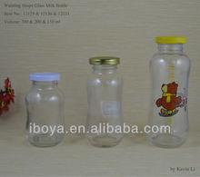 150/200/300ml Waisting Shape Glass Milk Bottle with screw neck