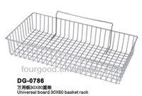 Heavy duty slatwall retail shop display storage chrome shelving basket