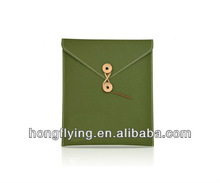 Green Portfolio style leather cover pouch for ipad mini, OEM manufacturer