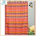 tejido de poliéster de color amarillo marrón rojo puntos impresos cortina de la ducha