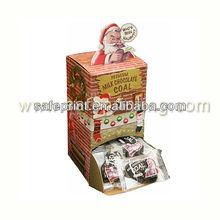 Desktop Corrugated Premium Milk Chocolate Coal Gravity Feed Counter Display Cardboard Candy Display Rack