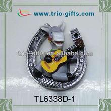 Guitar playing donkey style resin fridge magnet