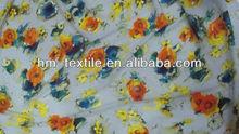 Yellow Flower Digital Printing Chiffon Fabric For Lady dresses