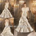 on0005 ombro elegante alta qualidade plissado sereia designer de cor champanhe tafetá de cauda longa vestidos de noiva 2013