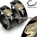 316l de aceroinoxidable negro dragón bisagras hoop earrings