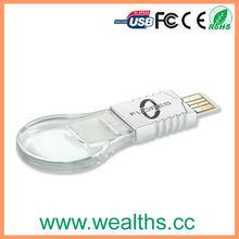 Promotion clear light bulb usb flash memory with custon logo