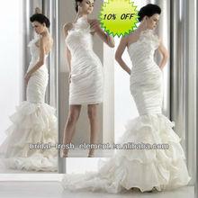 Hot Sale Long Good Quality Organza Strapless Ruffled Elegant Wedding Dresses Removable Skirt