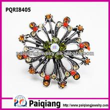 Fashion diamond flower emerald jewelry ring