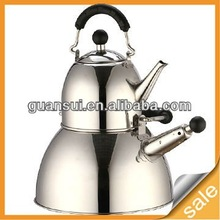 3L whistling stainless steel double tea pot kettle set