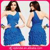 One sholuder sweetheart ruffle cocktail dresses short royal blue