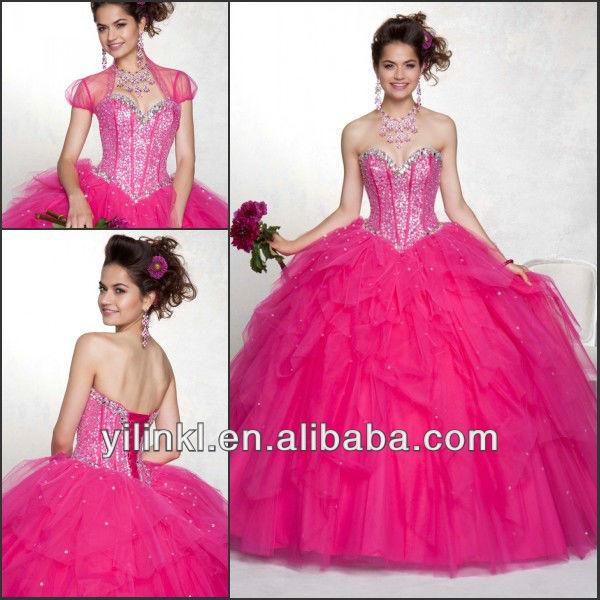 2013 Heavy Beaded Bodice Corset Hot Pink Color Design Quinceanera Dresses