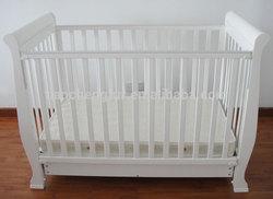 NZ Pine Wood Australia White Sleigh cot bed