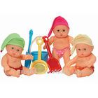 20CM Vinyl Beach Baby Doll, Summer Doll with Beach Toy Set