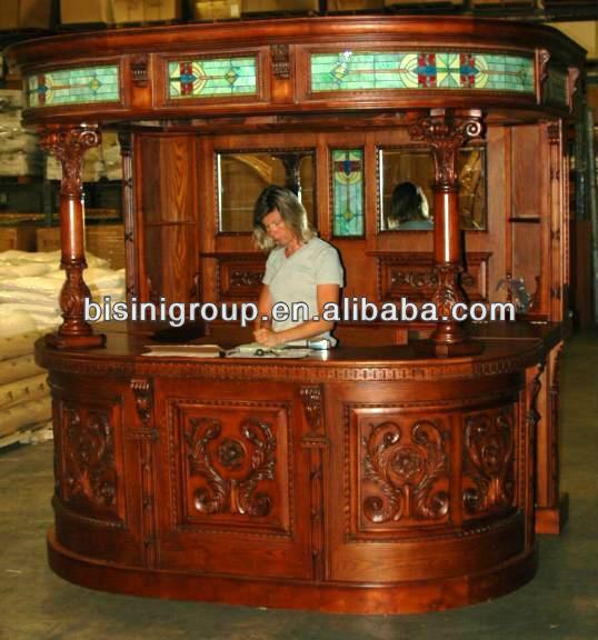 Bisini s lido de madera barra de bar bg500012 conjuntos de for Bares madera modelos