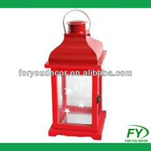 Wholesales Christmas home decoration wood lantern with metal top