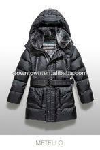 Boys Black Belt Fur Hood Down Jacket