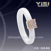 3 mm White Ceramic and Silver Diamond Ring ,Seramic Jewelry,IP Gold Plate Ceramic ring