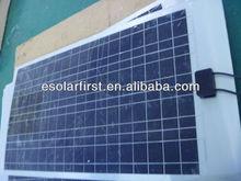 50W semi flexible solar panel, monocrystalline flexible solar panel for boat,RV,carvan,roof