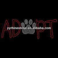 Adopt pawprint hot fix rhinestone transfer design